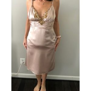 Satin champagne cocktail dress